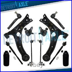 12pc Front Lower Control Arm Kit Sway Bar Tie Rod for 2003 2008 Toyota Corolla