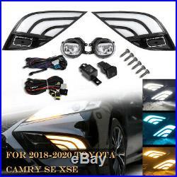 2018 2019 Toyota Camry SE XSE White Amber DRL Fog Light Cover+LED Fog Lens Kit