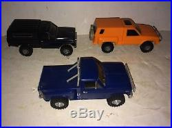 3 Vintage 80's Tamiya 4x4 Truck Models, Ford Ranger, Toyota Hi-Lux, Nissan Safari