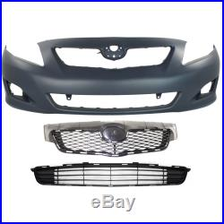 Bumper Cover Kit For 2009-2010 Toyota Corolla Front With fog light holes 3pc