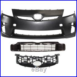 Bumper Cover Kit For 2010-2011 Prius Front 3pc Primed