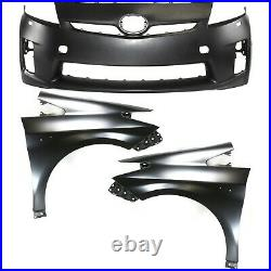 Bumper Cover Kit For 2010-2011 Toyota Prius Front 3pc with Fender