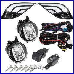 For 18-19 Toyo-ta Camry SE XSE White Amber DRL Fog Light Cover+LED Fog Lens Kit