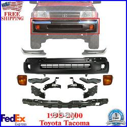 Front Bumper Cover Textured + Chrome Trim + Bracket Kit For 1998-2000 Tacoma 4WD