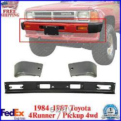 Front Bumper Primed + End Caps For 1984-1987 Toyota 4Runner / Pickup 4WD